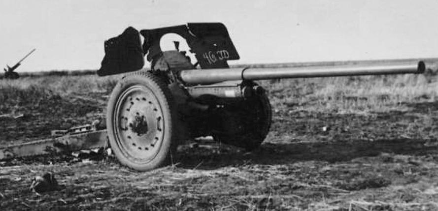 фото разбитой пушки Ф-22