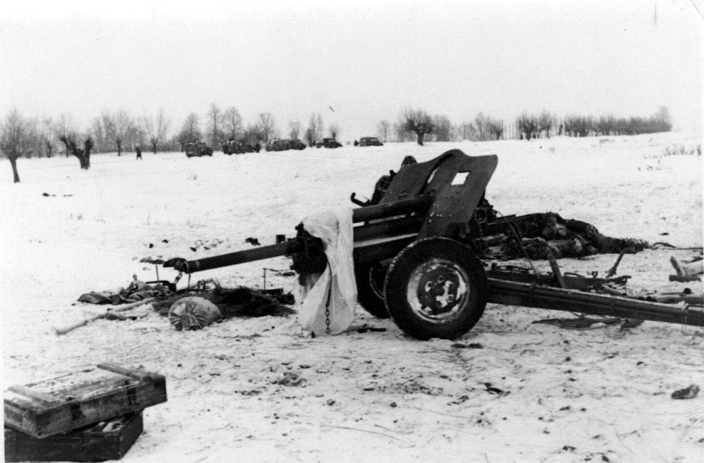 фотография пушки УСВ, зима