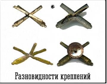 Виды креплений эмблем артиллерии