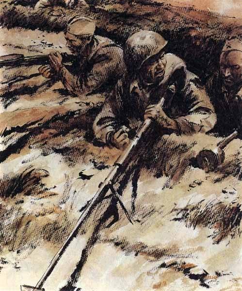 Иллюстрация книги Они сражались за Родину.