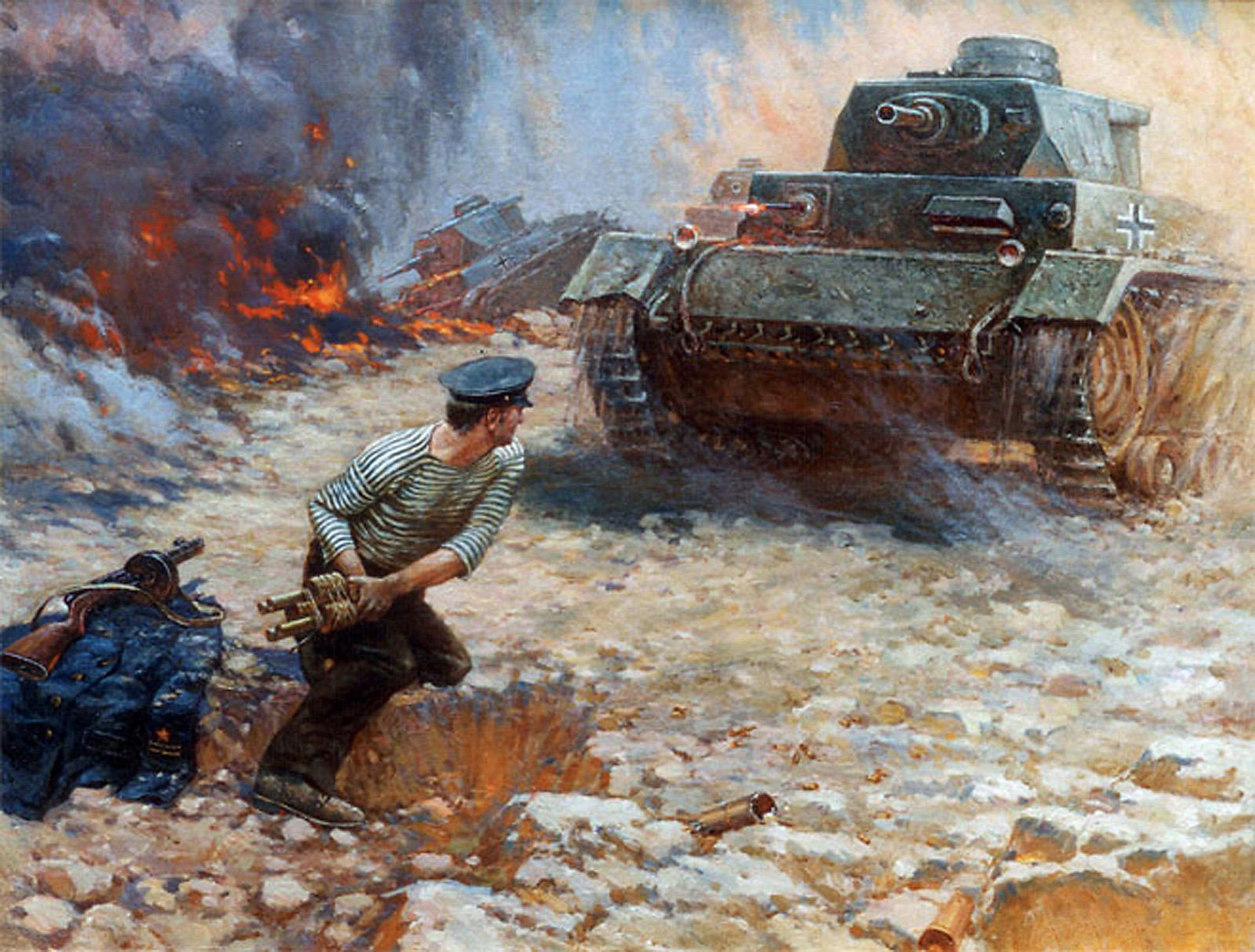 картина уничтожение немецкого танка