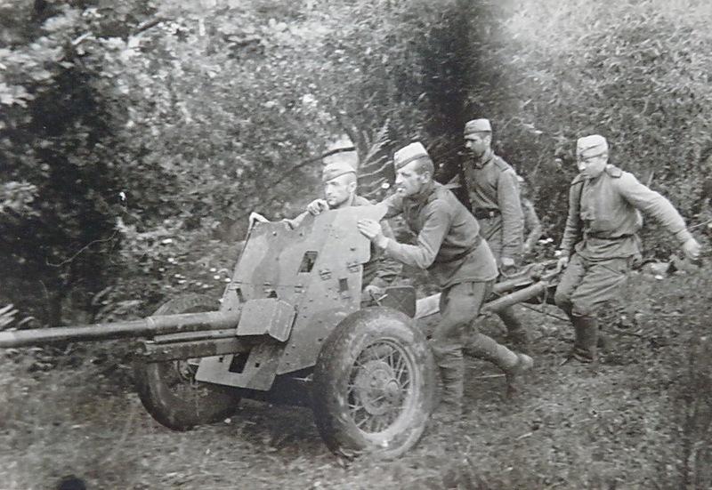Расчет 45-мм противотанковой пушки меняет позицию