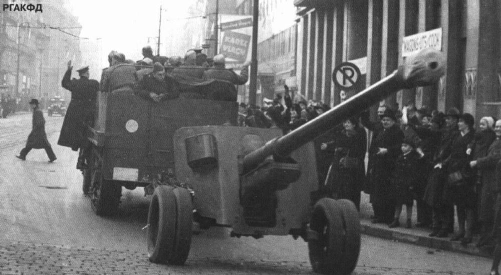 буксировка 100-мм пушки БС-3
