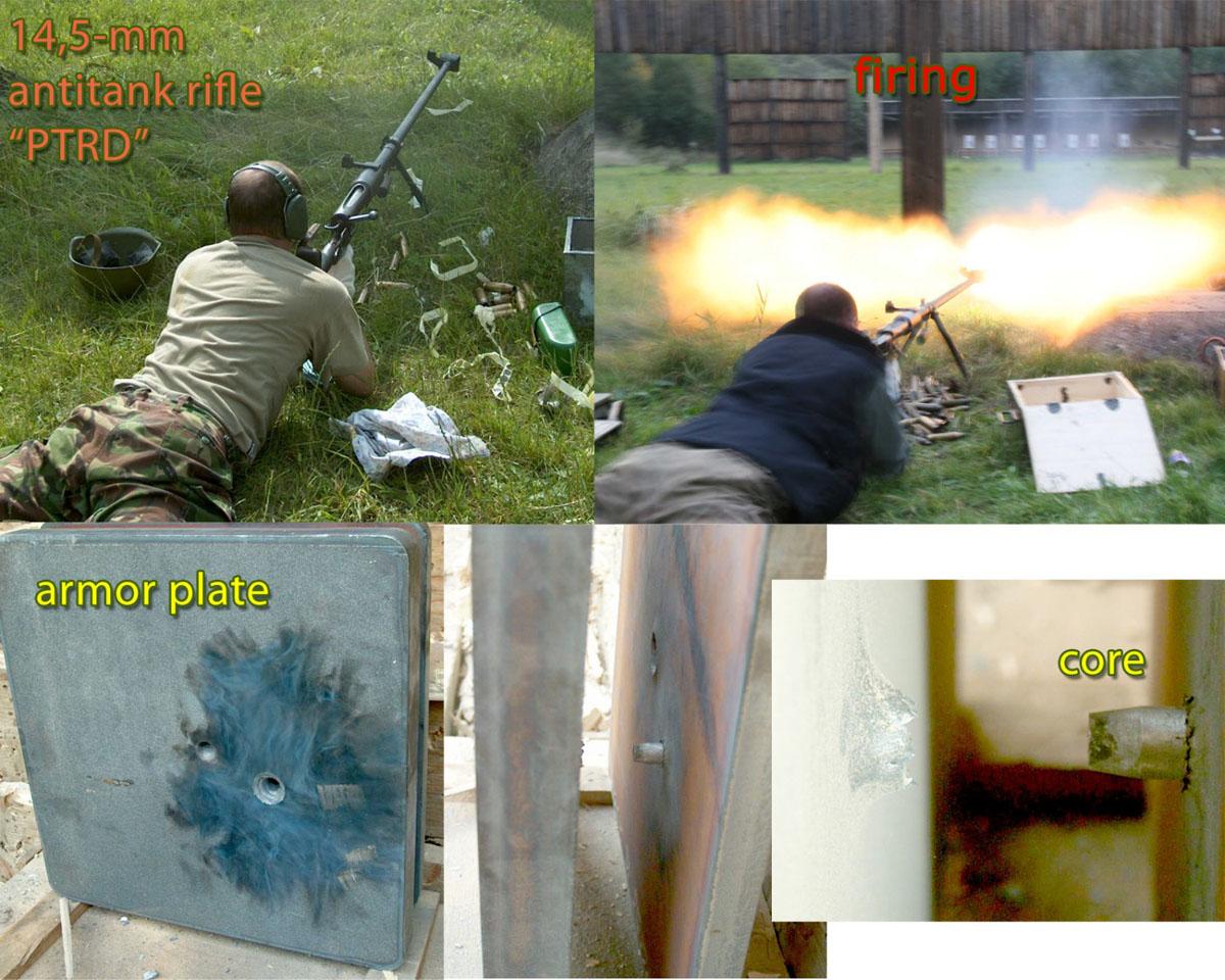 Выстрел из ПТРД и пробитие бронелиста