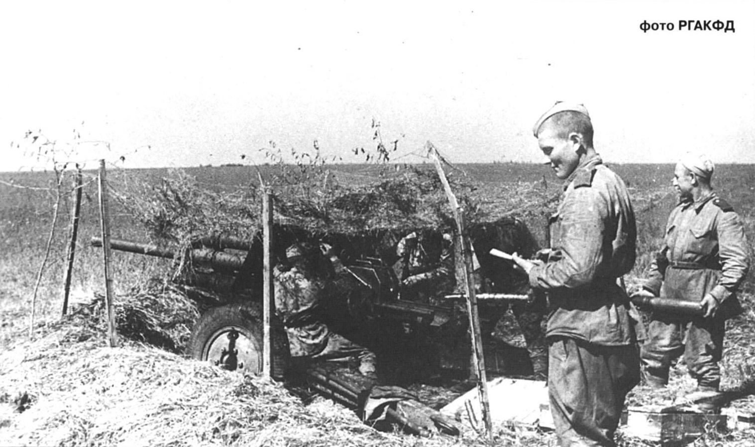 фото пушки УСВ на замаскированной позиции, 1943 год