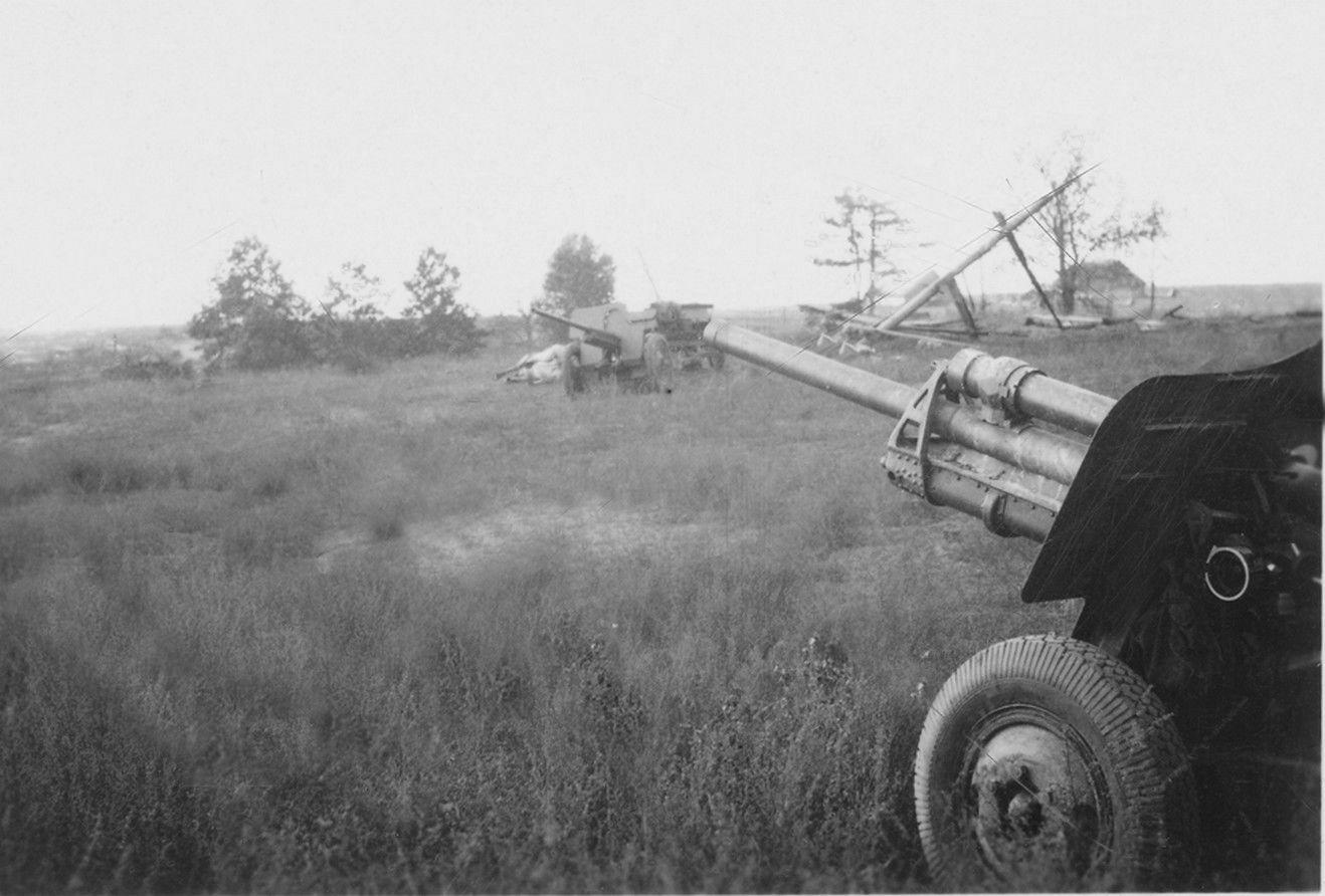 фото пушки УСВ. На заднем плане пушка Ф-22